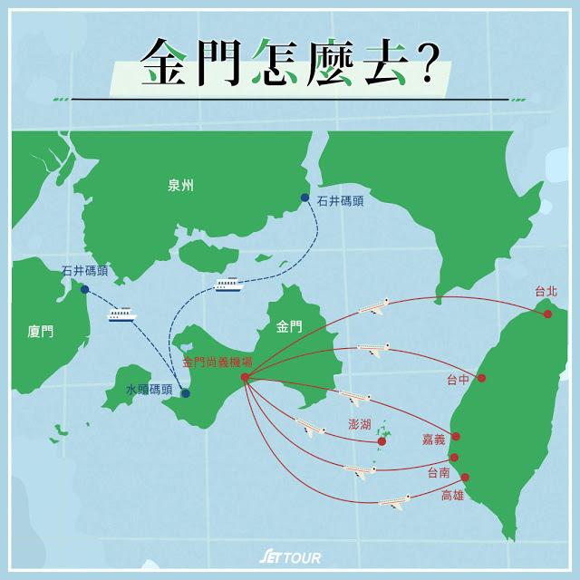 台灣前往金門的方式可選擇搭飛機
