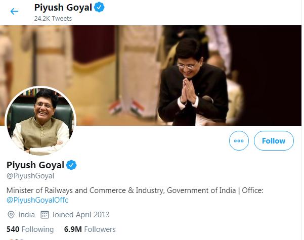 Piyush Goyal Twitter Followers