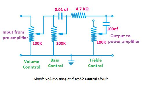 volume bass treble control circuit, volume control circuit