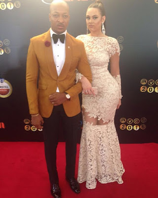 ik ogbonna and wife at  AMVCA 2016