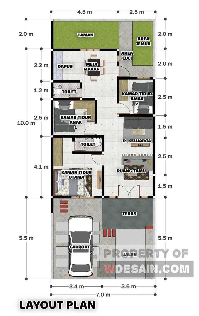 desain rumah ukuran 7x15 dengan 3 kamar tidur