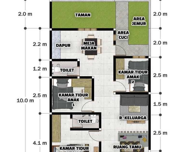 denah rumah 3 kamar ukuran 7x9 1 lantai
