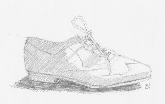 Daily Art 01-02-18 still life sketch in graphite number 91 - single brogue shoe