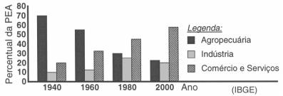 O gráfico representa a distribuição por setores de atividades (em %) da PEA brasileira em diferentes décadas