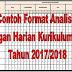 Contoh Format Analisis Ulangan Harian Kurikulum 2013 Tahun 2017/2018