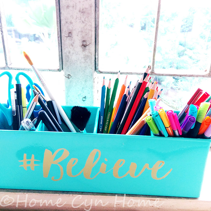 A great home office means you have enough storage for all your pens and art supplies at your desk.