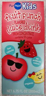 Individual box of PurAqua Kids Fruit Punch Juice Drink, from Aldi