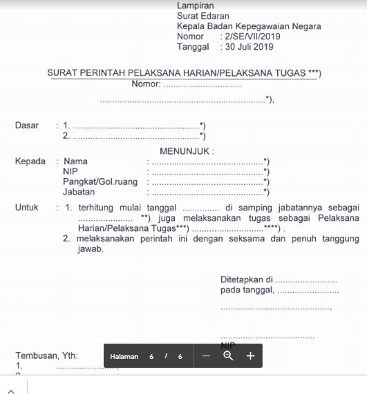 gambar Surat Perintah Pelaksana Harian/Pelaksana Tugas