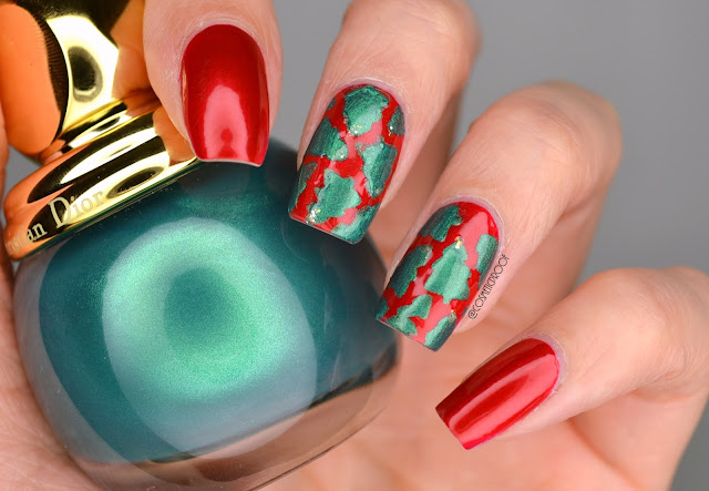 Dior Christmas Tree Nail Art