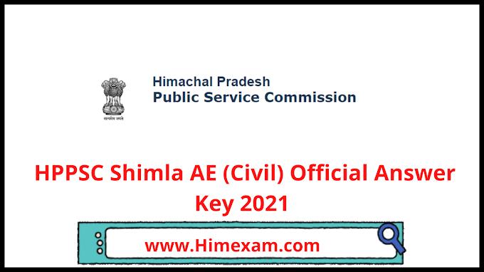 HPPSC Shimla AE (Civil)  Official Answer Key 2021