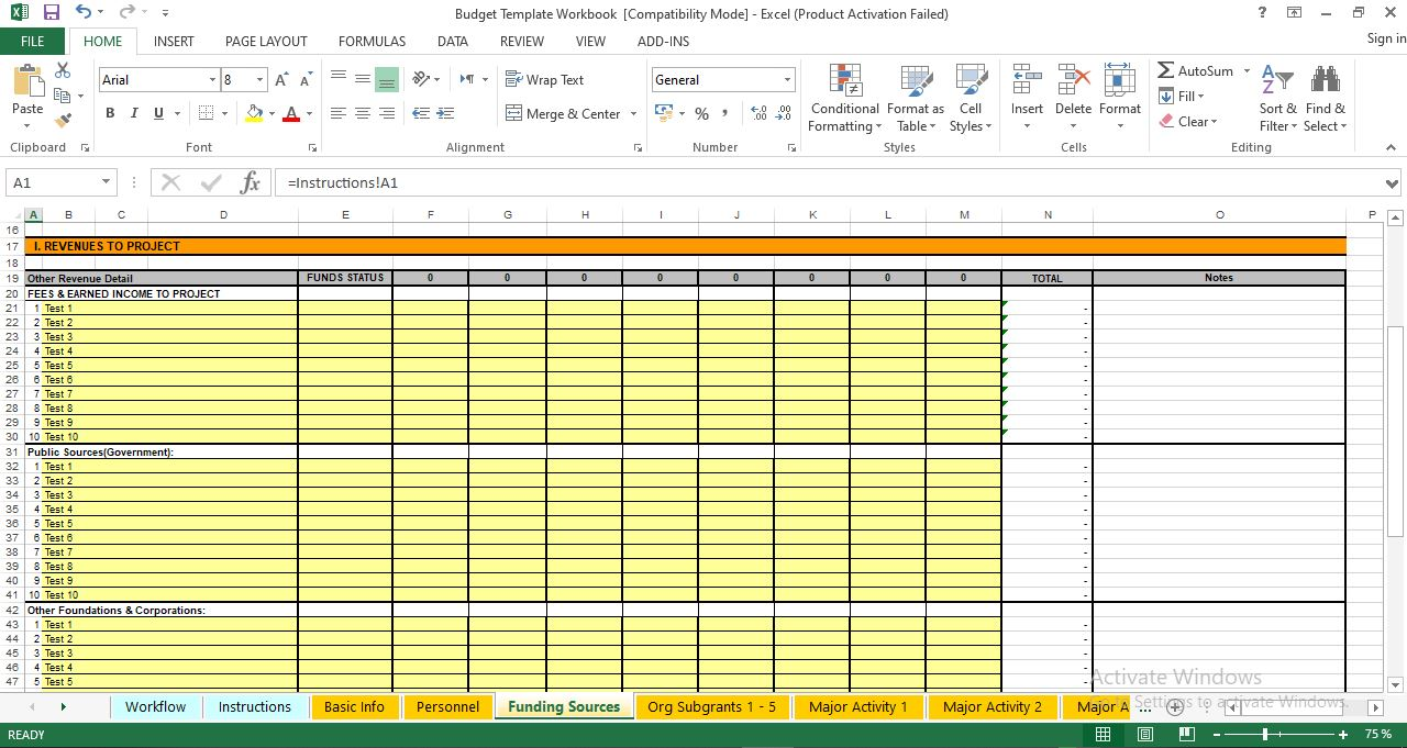 Budget Template Worksheet