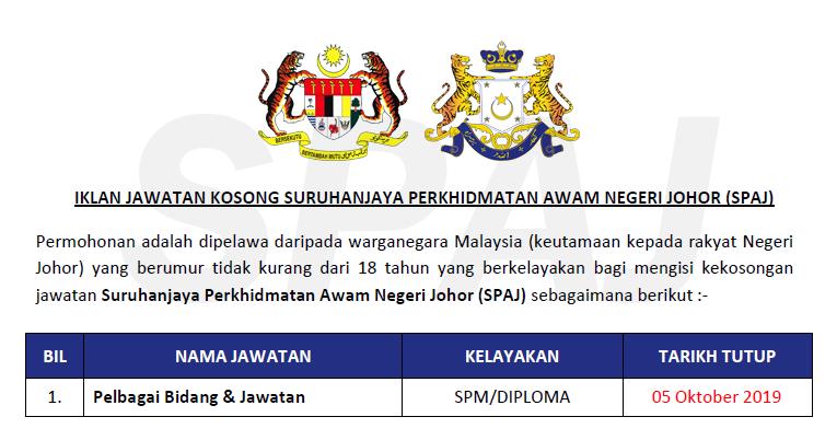 Jawatan Kosong Di Suruhanjaya Perkhidmatan Awam Negeri Johor Spaj Kelayakan Spm Diploma Ejawatankini Com