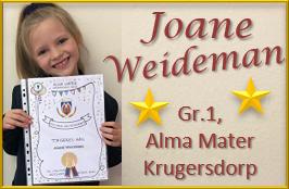 Joane Weideman Gr.1, Alma Mater Krugersdorp blink uit met die aanbieding van haar redenaars-toespraak!
