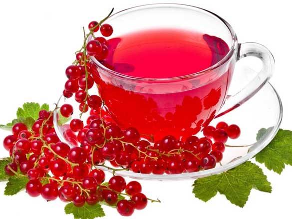 10 г чая (крупнолистовой, черный);  3 веточки мяты;  1 гвоздичка;  горсть красной смородины;  стакан кипятка.