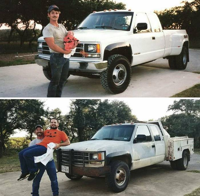 """My dad and brother recreated this photo 26 years later."""