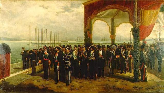 Embarque del rey Amadeo en el puerto de Spezia