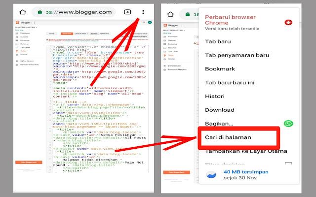 cara mencari kode du template blog lewat chrome