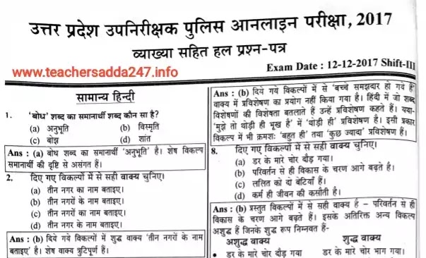 UPSI Exam 2021| Previous Old Question Paper in Hindi PDF 2017