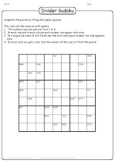 sudoku division brain teaser