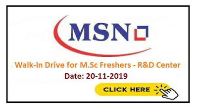 MSN Laboratories walk-in interview for M.Sc Freshers on 20th November, 2019