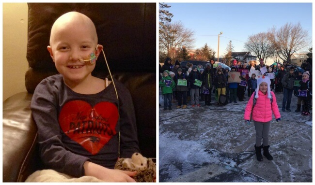 22 Stirring Pictures That Made Even The Toughest Of Us Cry - Hundreds of people are welcoming this girl who had bravely defeated cancer on her first day back at school.
