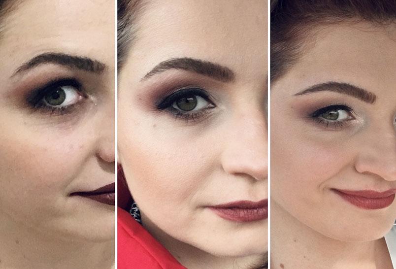 3 razy pokazana połowa twarzy z trzema wersjami makijażu