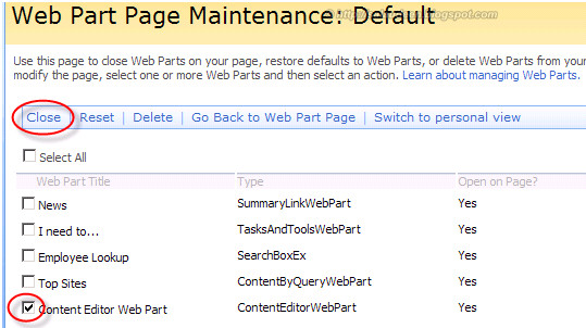 Web Part Maintenance Page in SharePoint