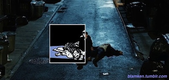 young Bruce Wayne on his knees next to bodies of his slain parents in the street from 'Gotham' pilot with part of panel from 'Batman: Year One' that inspired it overlaid