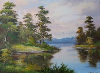 """Картина на холсте """"Лесное озеро"""""""
