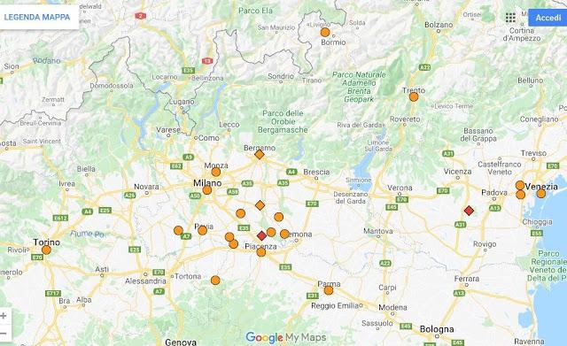冠狀病毒的確診案例主要集中在米蘭周遭的區域