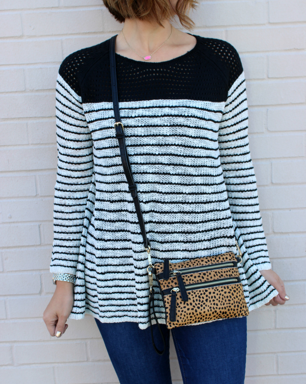 black and white striped sweater, mom style, pineapple lace