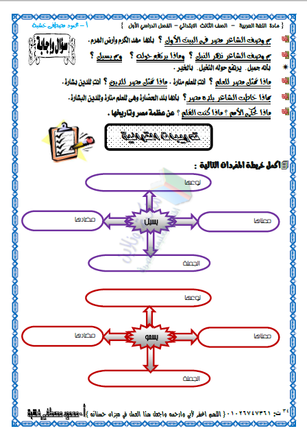 مذكرة عربى الصف الثالث الابتدائي ترم أول 2019