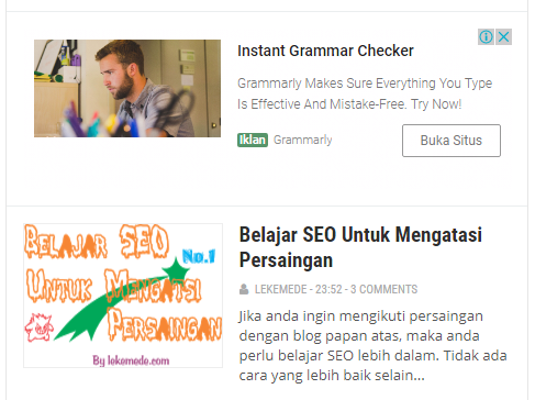 Cara Memasang 2 Unit Iklan In Feed Ads di Halaman Depan Blog