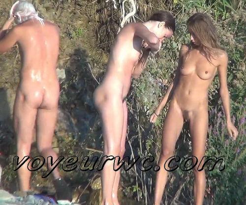 Spy Cam Waterfall Shower 145-154 (Naked women caught on spy cam taking shower natural waterfall)