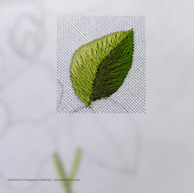 Completed upper needlepainted leaf