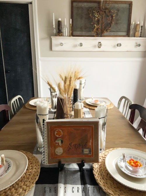 Thanksgiving table setting - gratitude book, traditions