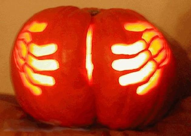 Pumpkin Butt Carving