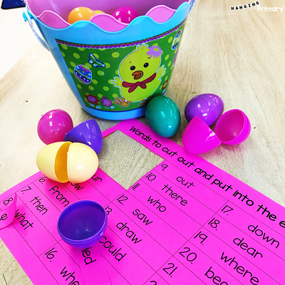A free and editable easter egg hunt read the room resource to practice sight words.