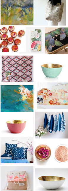 Best etsy stores for home decor and women's fashion including original watercolor paintings and abstract oil paintings, shibori, paper mache gold leaf bowls, blue and white pottery, and more