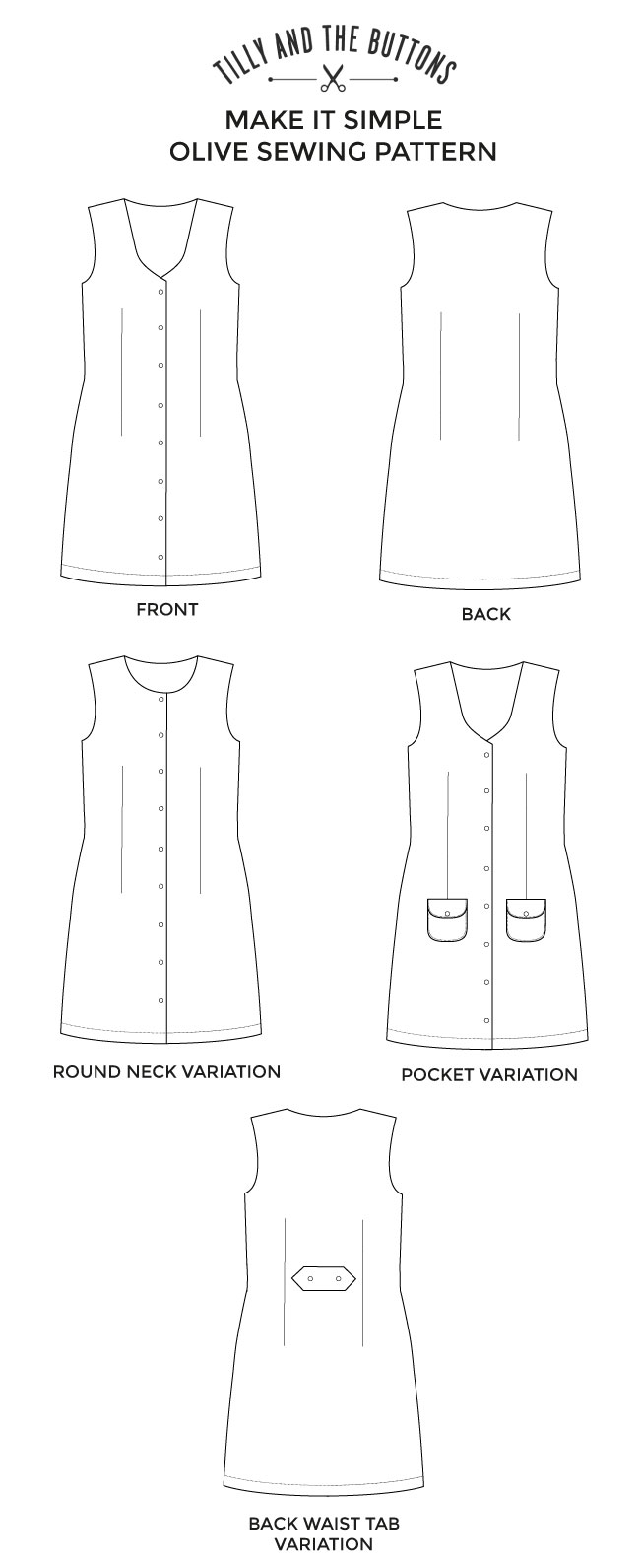 Olive pinafore sewing pattern - Make It Simple - Tilly and the Buttons