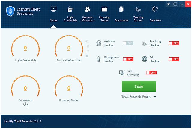 Screenshot Identity Theft Preventer 2.1.5 Full Version