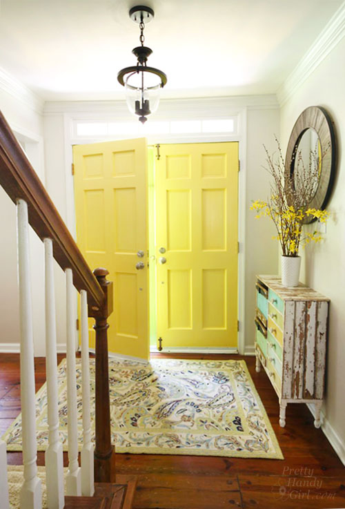 yellow interior painted door