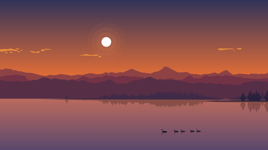 Sunset Landscape Lake Minimalist Digital Art 4k Wallpaper 52