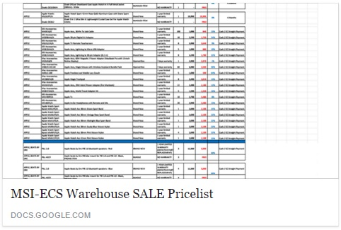 MSI-ECS Warehouse Sale 2016 Final Price List