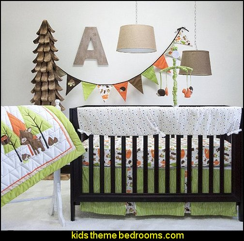 Pam Grace Creations Charming Forest 6 Piece Crib Set, Brown/Tan/Orange