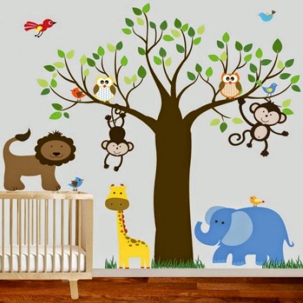 Habitaciones tema la selva dormitorios colores y estilos - Dibujos para habitaciones de bebe ...