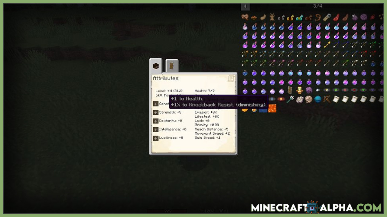 Minecraft Player Ex Mod 1.17.1/1.16.5 (Attribute, Stats)