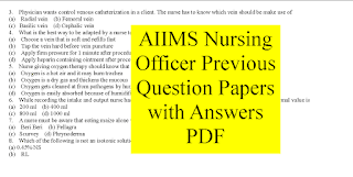 AIIMS Nursing Officer Previous Question Papers with Answers PDF