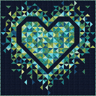 Exploding Heart quilt using Just My Type collection from Island Batik