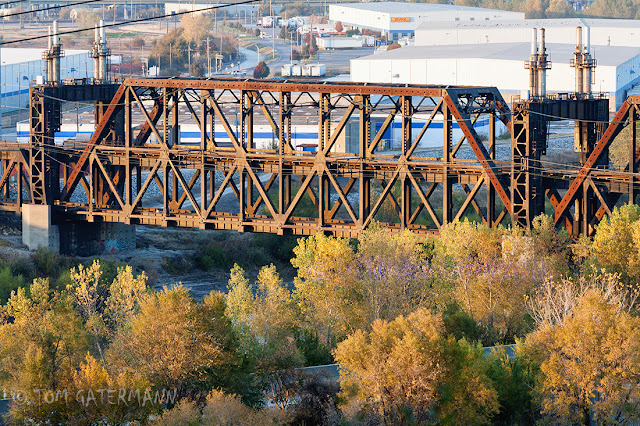 The span of KCT's Highline Bridge over the river is seen here late afternoon light.